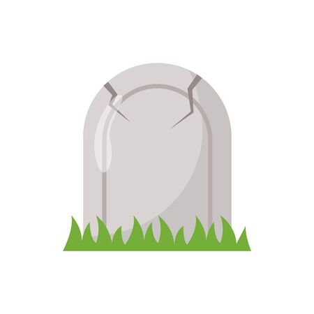 halloween graveyard cemetery isolated icon vector illustration design