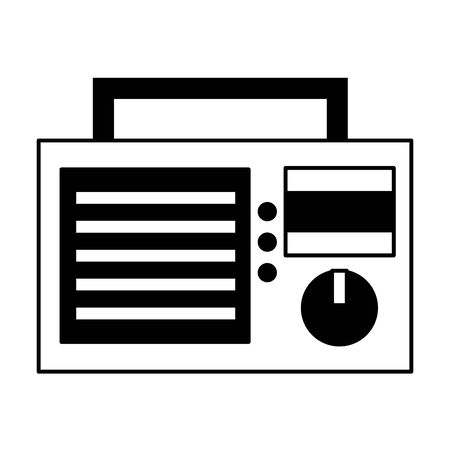 retro radio volume sound white background vector illustration
