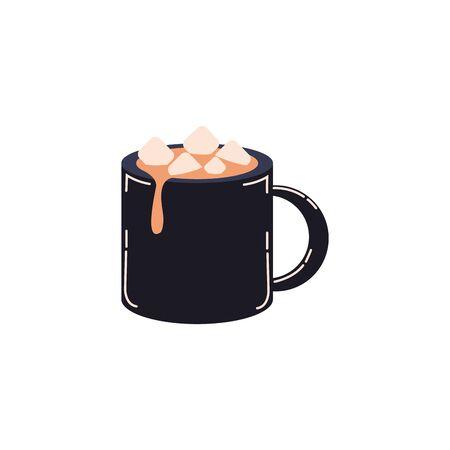 Becher mit Schokoladengetränk-Symbol-Vektor-Illustration-Design