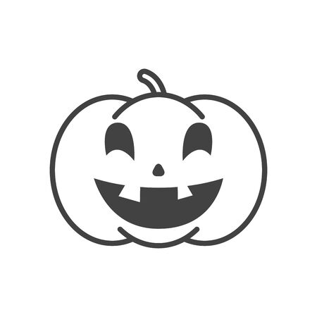 halloween pumpkin with face character vector illustration design
