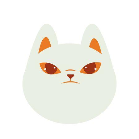 halloween cat mascot head seasonal icon vector illustration design Stock Illustratie