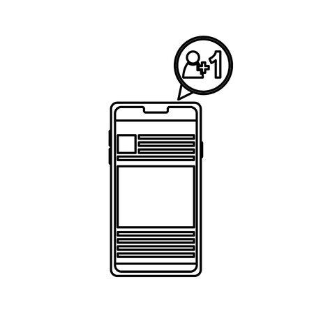 Conception de smartphone, communication de technologie numérique médias sociaux internet web et thème de l'écran Illustration vectorielle Vecteurs