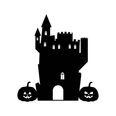 halloween dark haunted mansion building vector illustration design
