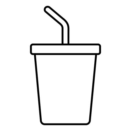 disposable cup soda with straw on white background vector illustration