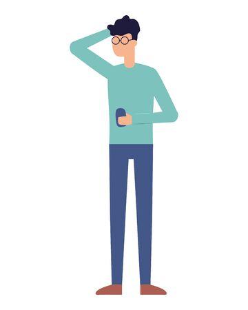 man using smartphone device on white background vector illustration Illustration
