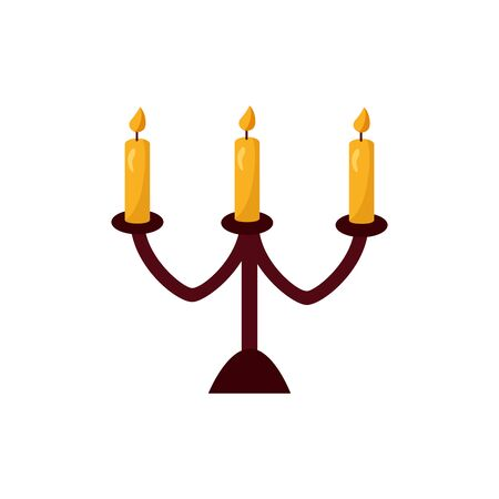 halloween candles in chandelier isolated icon vector illustration design