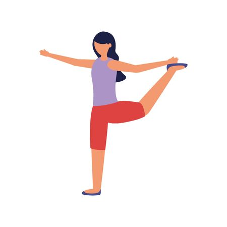 Girl doing yoga design, Positive mind fitness and exercise theme Vector illustration