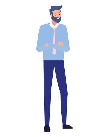 businessman character portrait on white background vector illustration Illustration