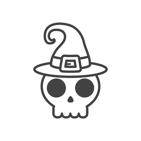 halloween skull head with witch hat vector illustration design