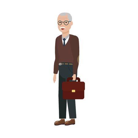 Grandfather cartoon design, Old person grandparents man avatar senior and adult theme Vector illustration
