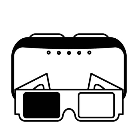 3d glasses design, Cinema movie video film media entertainment show and event theme Vector illustration  イラスト・ベクター素材