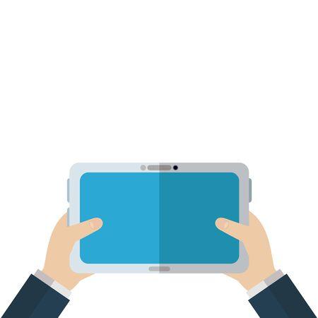 Tablet design, Digital technology communication social media internet web and screen theme Vector illustration