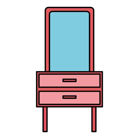 furniture mirror drawers decoration icon vector illustration