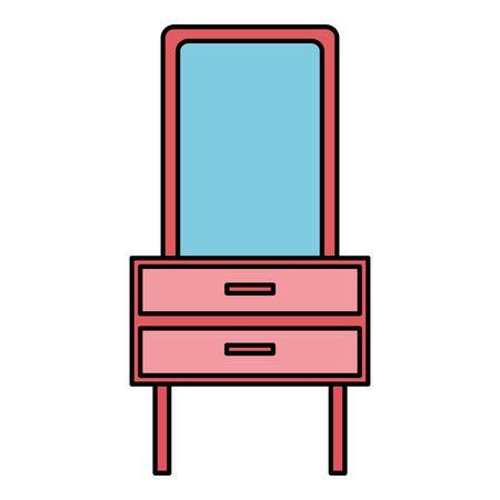 furniture mirror drawers decoration icon vector illustration