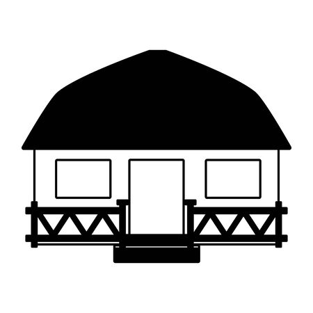 Maison de plage bungalow tropical sur illustration vectorielle fond blanc