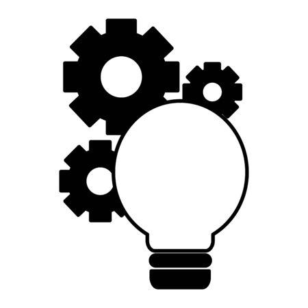 light bulb gears setting on white background vector illustration