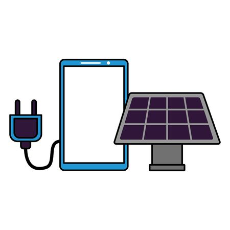 smartphone solar panel electric plug on white background vector illustration