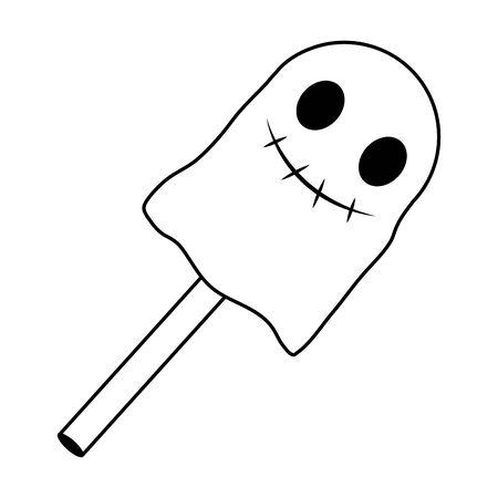 halloween sweet ice cream stick with face vector illustration design 向量圖像
