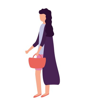 woman with handbag activity outdoors on white background vector illustration Illustration