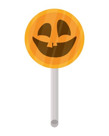 halloween sweet lollipop candy with face icon vector illustration design 向量圖像