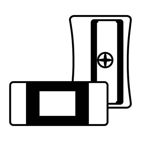 sharpener and eraser school on white background vector illustration Ilustração