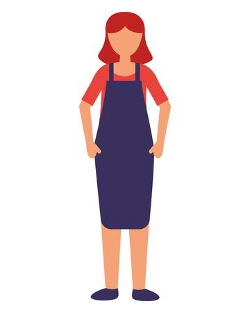 seller woman with apron on white background vector illustration  イラスト・ベクター素材