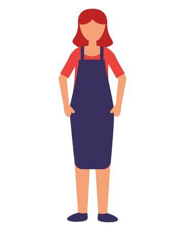 Vendedor mujer con delantal sobre fondo blanco ilustración vectorial Ilustración de vector