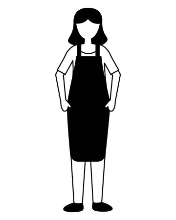 seller woman with apron on white background vector illustration 向量圖像