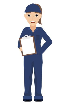 female young mechanic worker with checklist vector illustration design
