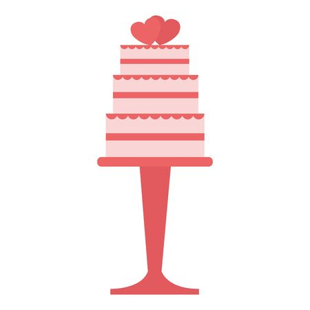 wedding cake with hearts in the stand vector illustration