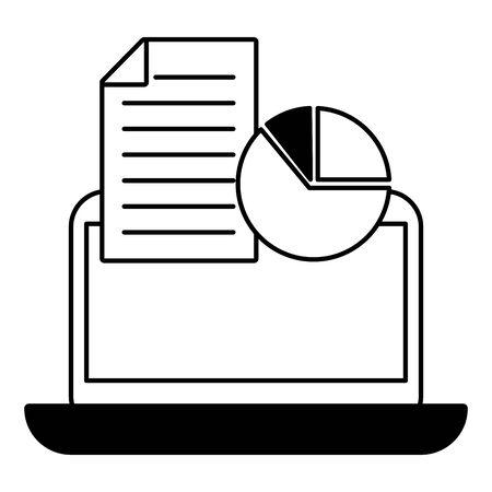 business laptop report chart document vector illustration