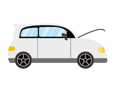 car with open bonnet mechanic icon vector illustration design