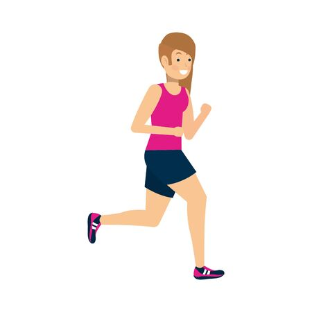 Woman running design, Healthy lifestyle Fitness bodybuilding bodycare activity and exercisetheme Vector illustration