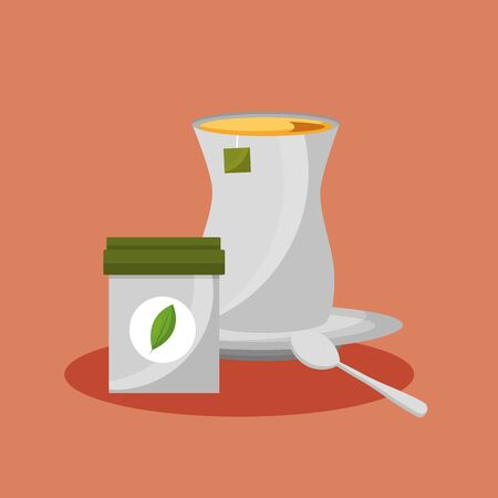 Tea pot and bowl design, Drink breakfast beverage tradition kitchen and aromatic theme Vector illustration