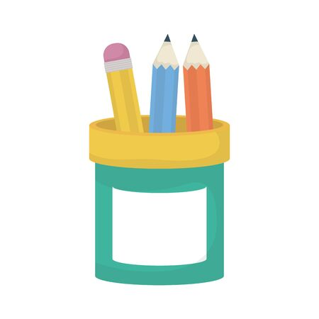 school colors pencils in holder supplies education icons vector illustration design