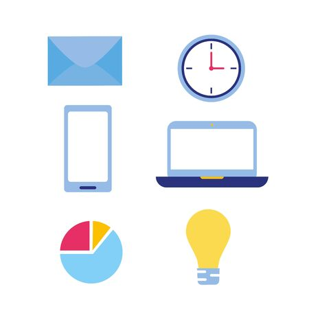 business work smartphone laptop chart idea email clock time vector illustration  イラスト・ベクター素材
