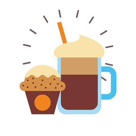 Eiskaffee und Muffin-Design, Frühstücksgetränke-Bäckerei-Restaurant trinken und Shop-Thema Vektor-Illustration