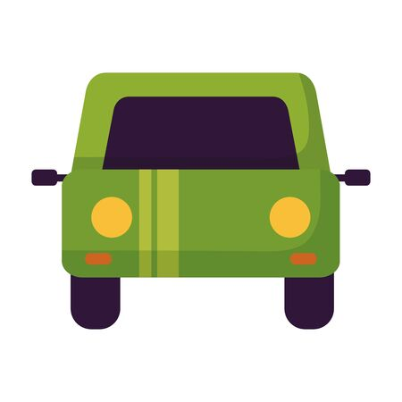 green car vehicle on white background vector illustration