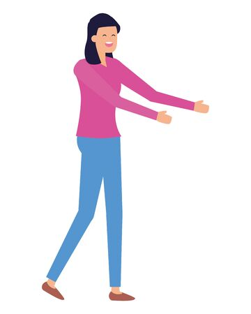 woman character standing female on white background vector illustration Foto de archivo - 132707256