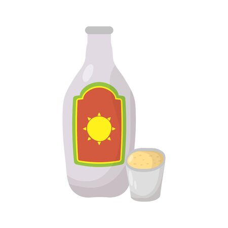 mexican tequila bottle and cup vector illustration design Ilustração