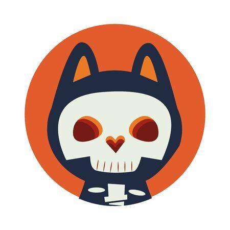 halloween cat mascot with katrina costume vector illustration design