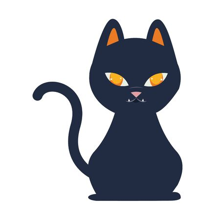 halloween cat mascot seasonal icon vector illustration design