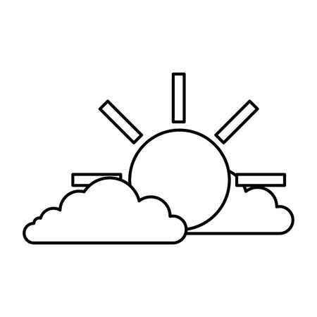 clouds with sun isolated icon vector illustration design