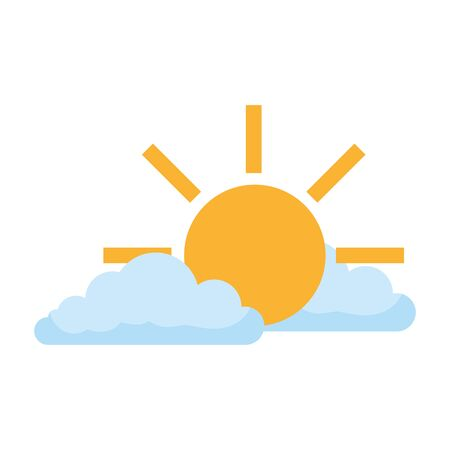 clouds with sun isolated icon vector illustration design 写真素材 - 132747400