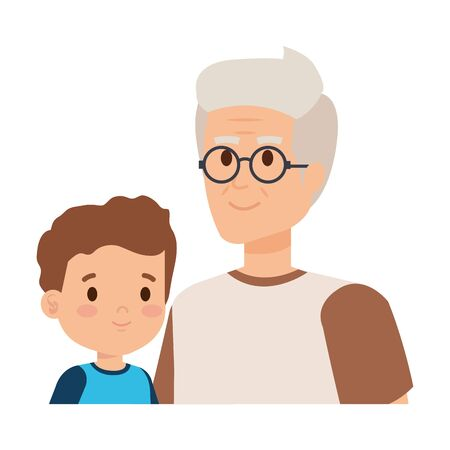 cute grandfather with grandson vector illustration design