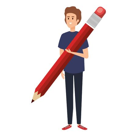 young teacher with pencil character vector illustration design 일러스트