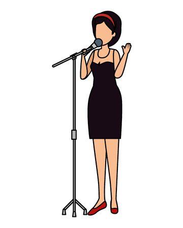 femme, chant, à, microphone, vecteur, illustration, conception Vecteurs