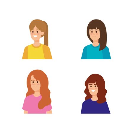 set pretty girls with hairstyle and blouse vector illustration  イラスト・ベクター素材
