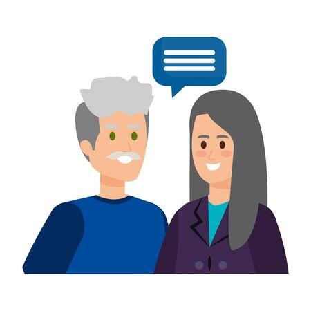 cute grand parents couple with speech bubble vector illustration design