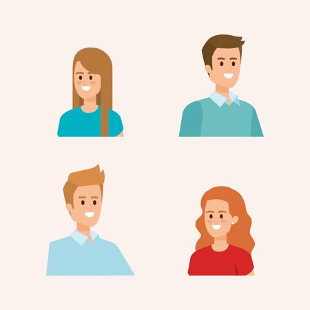 set of women and men head with hairstyle and casual clothes vector illustration Foto de archivo - 132855764